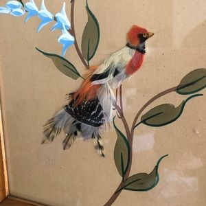 Vintage Wall Art - Vintage Feather Bird Painting